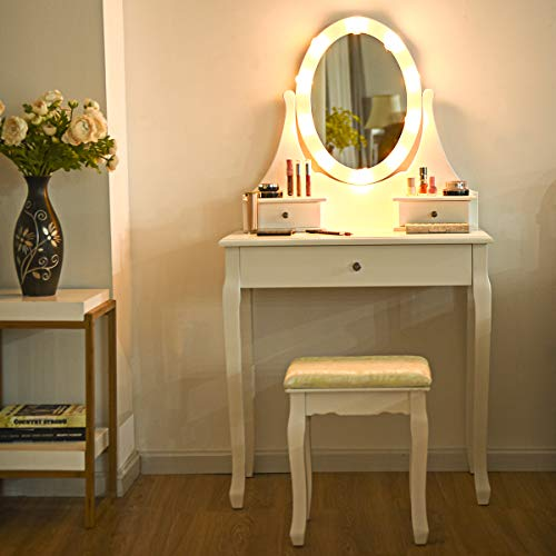 Giantex Vanity Dressing Table Set with Makeup Mirror, 10 Led Lights Removable Top Organizer Multi-Functional Writing Desk Padded Stool, Large Bedroom Vanities Tables with Benches (White 3 Drawers)