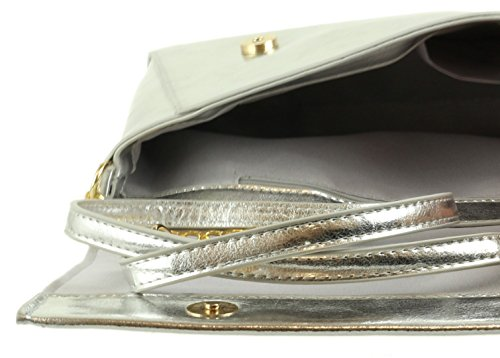 Girly HandBags Metallic Effect Clutch Bag Silver