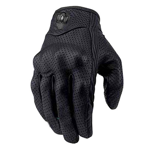 Jlong Men's Motorcycle Leather Perforated Cruiser Protective Gel Gloves