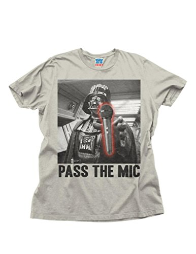 Junk Food Star Wars Pass the Mic Adult Silver T-Shirt (Adult Large)