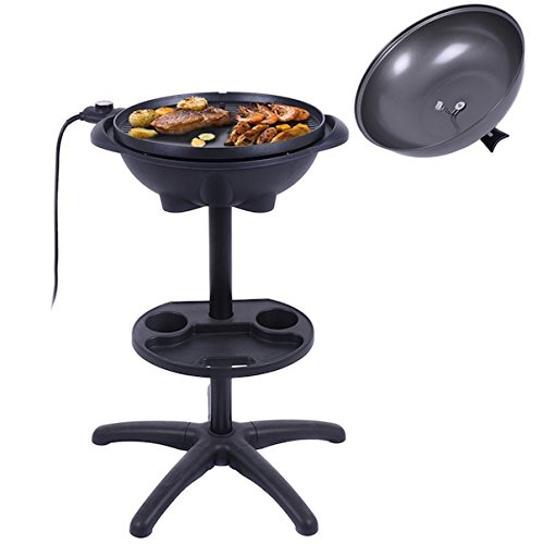 riller Without Smoke 1350W 4 Temperature Setting Outdoor Garden Patio Deck Backyard Yard Camping Picnic Barbecue Cooking Non-stick Removable Stand For Indoor Cooking (Tec Electric Rotisserie)