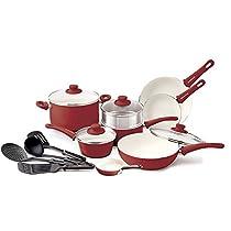 Premium 16 Piece Cookware Set Nonstick Coating, Non-Toxic Oven Safe No Cadmium PFOA or Lead, Burgandy-Red