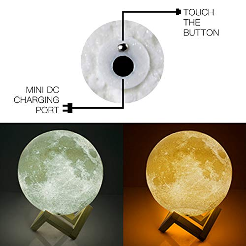 Moon Lamp, 3D Printing 2 Colors Moon Night Light, Home Decorative Rechargeable Lunar Light with Wooden Stand, Remote/Touch Control, Table Desk Lamps for Baby Kids Lover Birthday Party Gifts - 20CM