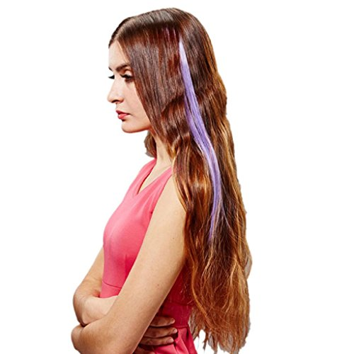 SUPPION Gradient Color Highlight Straight Clip on Wigs Women Girl Hair Extensions Pieces 15.74'' 1PC (Costumes With Purple Hair)