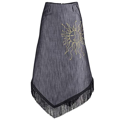 Womens Skirt Outfit - Black || Fringed Denim - Asymmetric Hem Skirt with Embroidery for women Skirt for special occasion || Custom Handmade Gift for Wedding Festival Occasion Anniversary Graduation ()