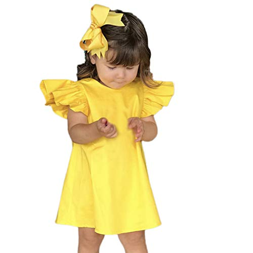 AutumnFall 3-24M Summer Infant Baby Girls Fly Sleeve Solid Bow Dress Clothes Toddler Dresses (Age:12-18 Months, Yellow)]()
