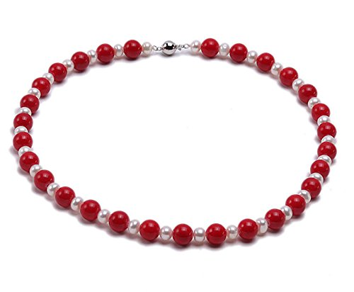 JYX Coral Jewelry for Women Red 10mm Round Coral and Freshwater Cultured Pearl Necklace 19