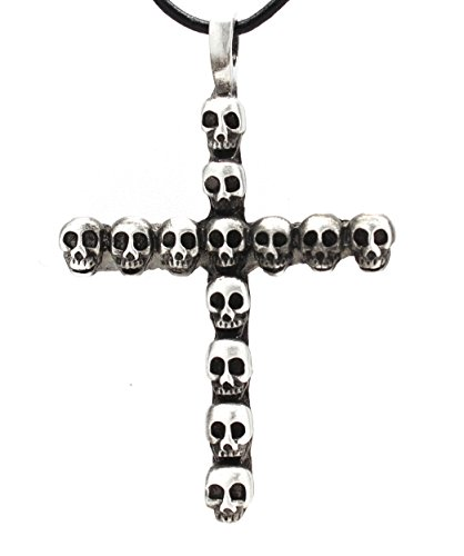 Pewter Cross of Skulls Gothic Pendant on Leather Necklace