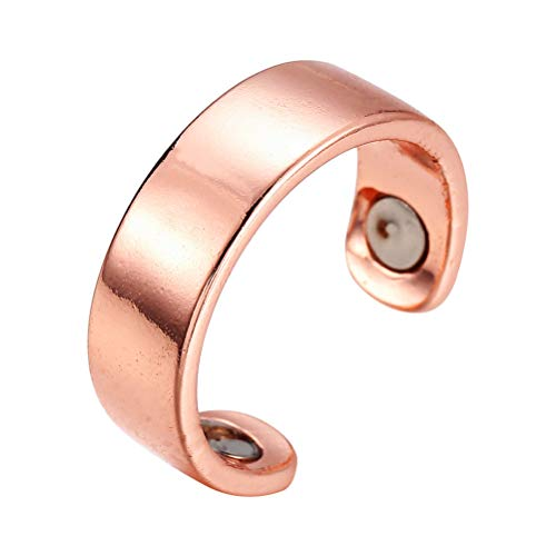Healifty Magnetic Therapy Ring Acupressure Anti-Snore Ring Healthy Sleeping Ring Open Ring (Glaze, Rose Golden)