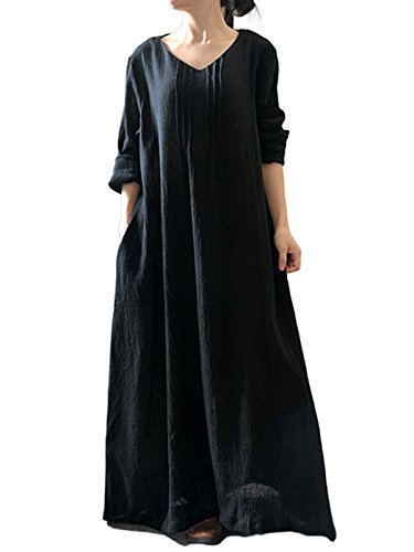 MISSLOOK Women#039s 3/4 Sleeve V Neck Plus Size Loose Plain Simple Long Maxi Dress  Black OneSize