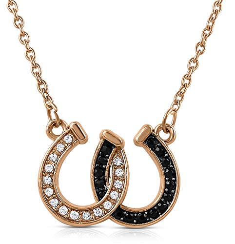 (Lucky Clear and Black Crystals Double Horseshoes Rose Gold Tone Necklace Fashion Jewelry (Rose Gold/Black))