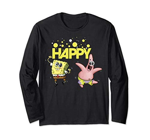 SpongeBob SquarePants Happy Dancing SpongeBob And Patrick Long Sleeve T-Shirt]()