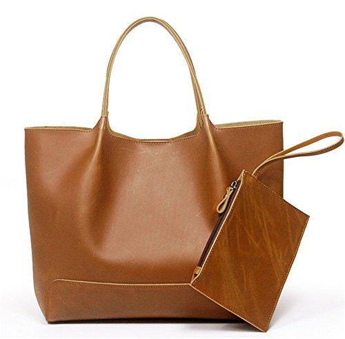 Bolsos de señora Xinmaoyuan Combinación de cuero auténtico Bolso Bolsa blanda de cuero Dama Casual Big Bag,amarillo Amarillo