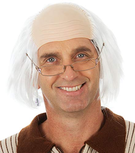 Old Man Wig - White Bald Cap Wigs Ben Franklin Einstein Costume - Fits Kids Child Men]()