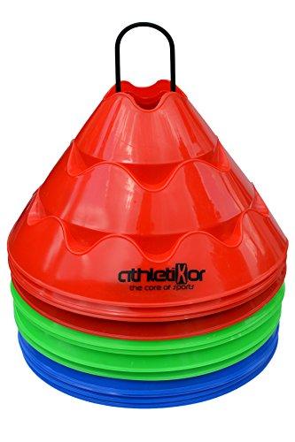Jumbo Markierungshütchen 12'er SET, grün, blau, rot von athletiKor ®