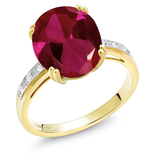 Gem Stone King 10K Yellow Gold Red Created Ruby and White Diamond Women's Ring (5.04 Cttw Oval Available in size 5, 6, 7, 8, ()