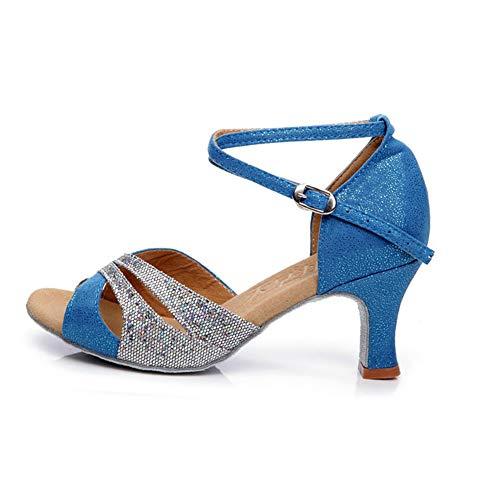De Length 1 Foot Sandalia Medios 1 3cm9 Baile Tamaño Mujer color Azul Tacones 24 Con Fondo Fuxitoggo 6inch Para Social Blando Zapatos Latino SxUqT75Bw
