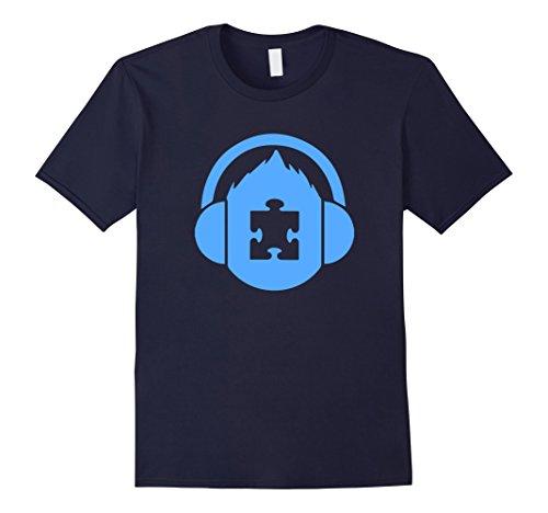 Men's Autism Awareness Puzzle Piece T-Shirt Large Navy