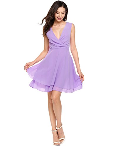 ANGVNS Women Summer Chiffon Dress Sleeveless A-Line Cocktail Party Mini Dress