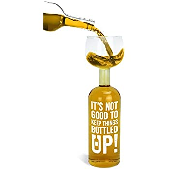 "BigMouth Inc Original Wine Bottle Glass - ""It's not good to keep things bottled up!"""