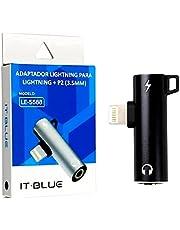 Adaptador 2 em 1 Compativel Com IPhone Lightning Para Lightning + P2 (3.5mm) (Cinza)