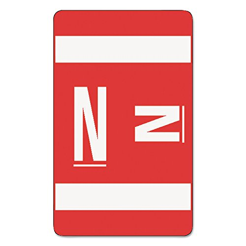 (Smead 67184 Alpha-Z Color-Coded Labels, Letter N, Red/White, 100 Labels/Pack)
