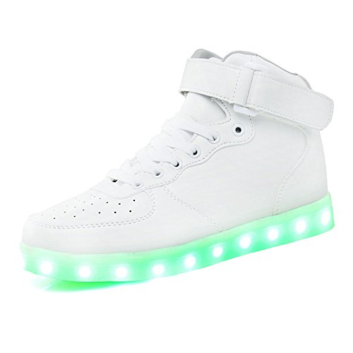 Teemway High Top Usb Charging Led Shoes Flashing Sneakers Unisex Or Kids  White  Eu33
