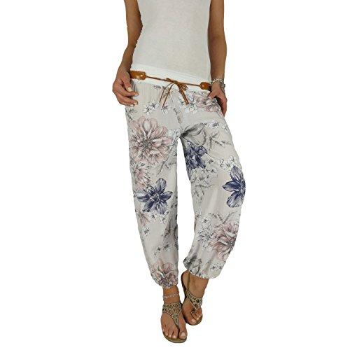 DB Damen Sommerhose mit Blumenmuster (One Size, Weiß)