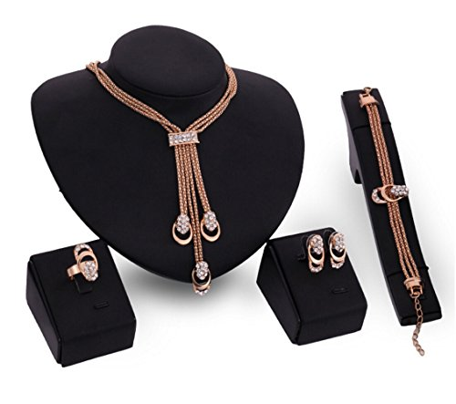 Most Beloved Gold Plated African Beads Crystal Necklace Wedding Party Gift Bridal Costume Jewelry ()