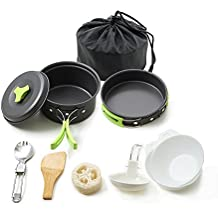Honest Portable camping cookware mess kit folding Cookset for hiking backpacking 10PC(1L)/11PC(2L) Lightweigh durable Pot Pan Bowls Spork with nylon bag outdoor cook equipment