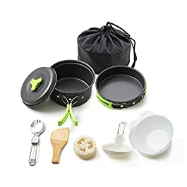 HONEST OUTFITTERS Portable Camping cookware Mess kit Folding Cookset for Hiking Backpacking 10/11 Piece Lightweigh…