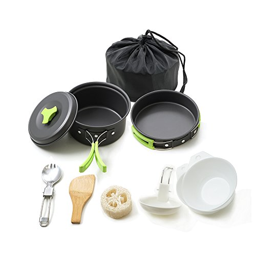 HONEST OUTFITTERS Honest Portable camping cookware mess kit folding Cookset for hiking backpacking 10 piece Lightweight durable Pot Pan Bowls Spork with nylon bag outdoor cook equipment
