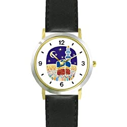 Mecca or Makkah al-Mukarramah - The Kaaba - during the Hajj Moslem or Muslim Theme - WATCHBUDDY DELUXE TWO-TONE THEME WATCH - Arabic Numbers - Black Leather Strap-Children's Size-Small ( Boy's Size & Girl's Size )