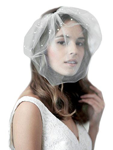 (Barogirl White Birdcage Veil Short Wedding Veil Soft with Comb Bridal Headwear for)