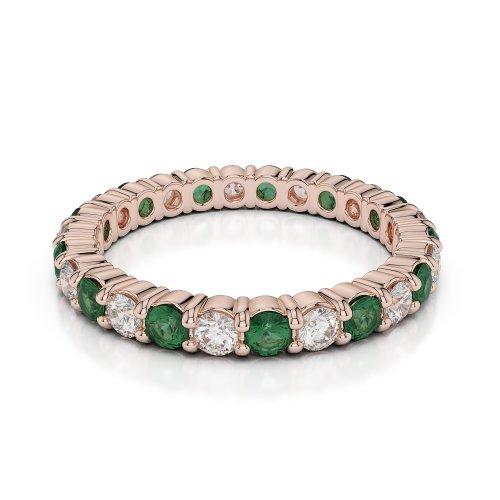 Or Rose 18carats 1CT G-H/VS sertie de diamants ronds découpé Émeraude et bague éternité Agdr-1111
