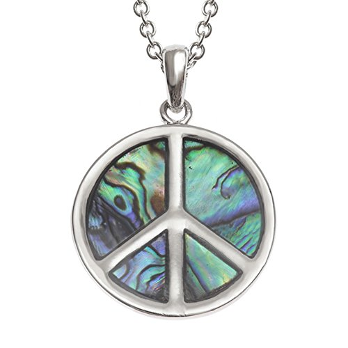 - Liavy's Peace Sign Charm Pendant Fashionable Necklace - Abalone Paua Shell - 18
