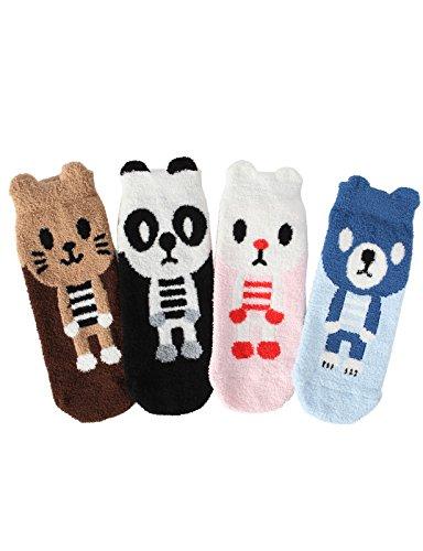 OSABASA Women's 4-Pairs Cute Animal Patterned Soft Fuzzy Crew Socks(KWMS0152)