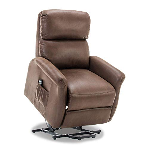 BONZY Lift Recliner Classic Power Lift Chair Soft and Warm Fabric with Remote Control for Gentle Motor – Chocolate