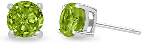 Sterling Silver Peridot Stud Earrings 6mm 2 Carat Total Weight