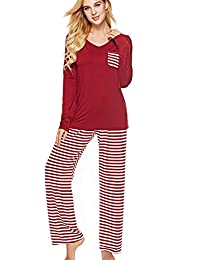 Womens 2 Piece Pajama Set Short Sleeve Top with Striped...