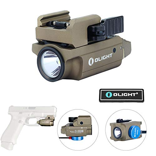 OLIGHT PL-Mini 2 Valkyrie 600 Lumens Cree XP-L HD CW Magnetic USB Rechargeable Compact Weaponlight with Adjustable Rail, Patch (FDE)