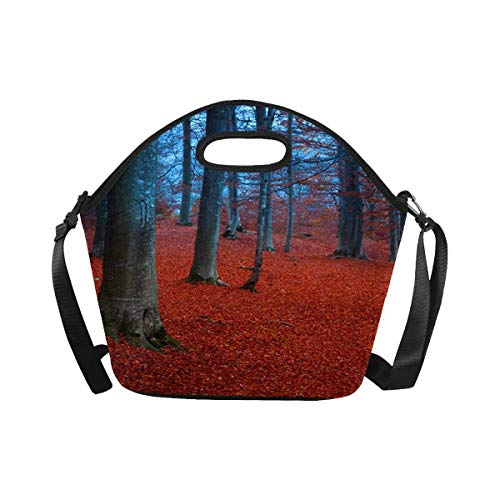 InterestPrint Mystic Forest with Red Leaves and Blueish Atmosphere Fairytale Lunchbox Lunch Bag Tote Insulated Neoprene Food Container Gourmet Tote Cooler with Shoulder Strap for Women Men