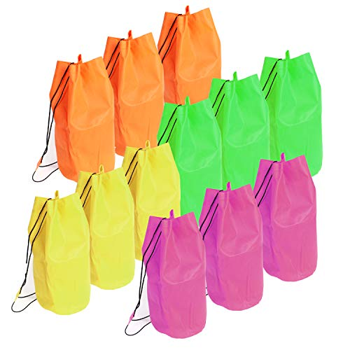 """16.5"""" Neon Drawstring Bag - 12 Pieces of Assorted Reusable Nap Bag Perfect for Travel, School, Beach, Sports, Party Favor and Supplies."""