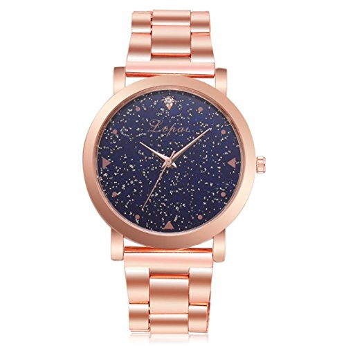 Easytoy Women Quartz Watch,Silver Tone Stainless Steel Blue sandstone Dial Analogue Quartz Lady Dress Watch