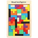 Nabhya Wooden Shape Sorting Puzzle Blocks Educational Toy to Learn Colours & Shapes (Wooden Tetris Jigsaw)