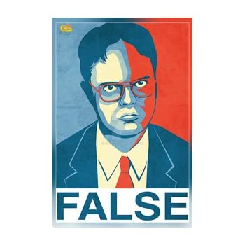 Amazoncom False Dwight Schrute The Office Poster Print 12 x