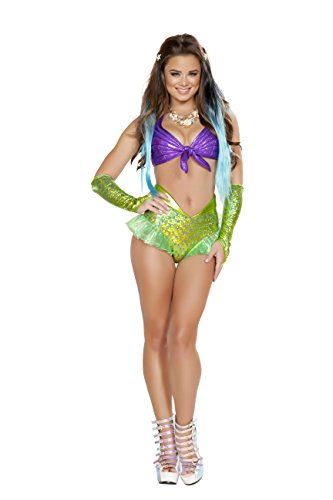 Sea Siren Mermaid Costumes (2 Piece Mermaid Sea Siren Iridescent Purple Top & Green Shorts Party Costume)