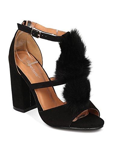 Heart.Thentic ELENA-10 Women Faux Suede Peep Toe Pom Pom Block Heel Sandal HB93 - Black Faux Suede (Size: 8.0)