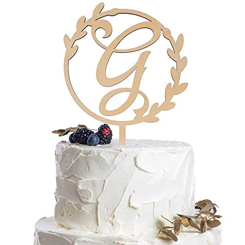 Letter G Personalized Initial Wood Cake Topper Monogram Wedding Anniversary Birthday Vow Reveal Party Decoration Supplies.