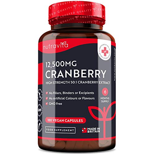 Cranberry Capsules 12500mg High Strength – 180 Vegan Capsules – 6 Month Supply – 50:1 Pure Cranberry Extract Per Capsule…